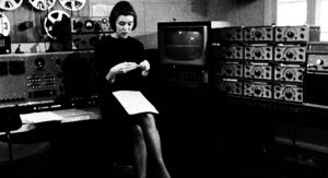 Woman and machines: Delia Derbyshire in Room 12, BBC Maida Vale studios.