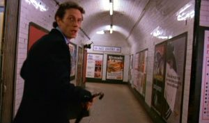 A commuter is pursued by the lycanthrope Yank tourist in 'An American Werewolf in London', shot (the film, not the werewolf) at Tottenham Court Road station.