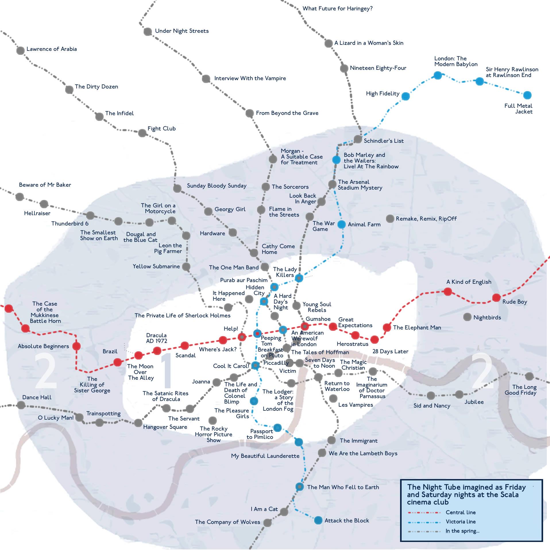 Music for Films London Night Tube map